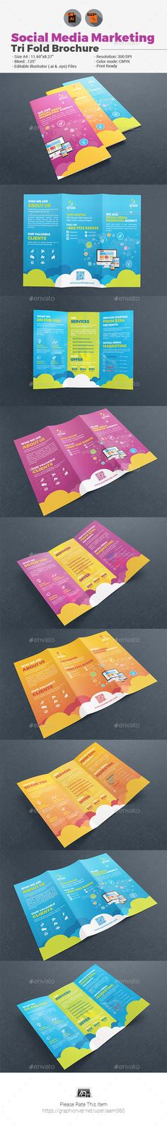 Social Media Marketing TriFold Brochure — Vector EPS #solutions #social network • Available here → https://graphicriver.net/item/social-media-marketing-trifold-brochure/19593008?ref=pxcr