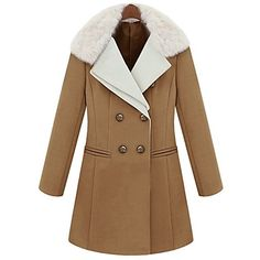 Tailored Fur Collar Double Breast Coat  #coat #fashion