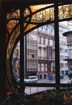 Lines, Framing, Glass-- Art Nouveau window in Brussels, Belgium ~ gorgeous!!!