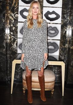 Rosie Huntington-Whiteley (in Miu Miu boots) - Artist In Residence Donald Robertson at Melrose Place store in Los Angeles. (August 2014)