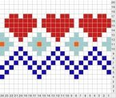 35 Super Ideas For Knitting Charts Heart Patterns Tapestry Crochet Patterns, Fair Isle Knitting Patterns, Knitting Charts, Knitting Stitches, Knitting Designs, Knitting Projects, Motif Fair Isle, Fair Isle Chart, Cross Stitch Borders
