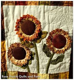 Rose Prairie Quilts and Farm: My Sunflower Quilt Sunflower Quilts, Sunflower Leaves, How To Finish A Quilt, Crochet Earrings, Quilt Blocks, Rose, Projects, Sunflowers, Quilting