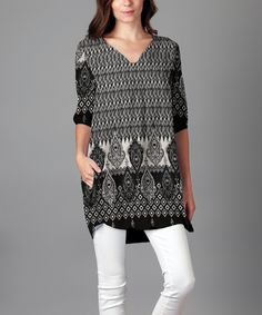 Look what I found on #zulily! Black & White Geometric V-Neck Tunic - Plus by Sunflower #zulilyfinds