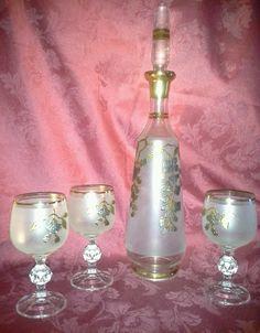 Vintage Bohemian Crystal GOLD SILVER Leaf Frosted Decanter 3 Wine Glasses Goblet #Bohemian #Decanter #Goblet