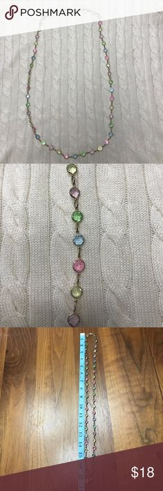 Vintage glass pastel & gold tone necklace A dainty necklace with colors of light blue, pink, light purple, light green and light yellow faceted glass crystals. See photo for length. Depending on wrist size, could wear as a wrap bracelet. Spring ring clasp No trades/No 🅿️🅿️ Offers welcome  Quick shipping Jewelry Necklaces