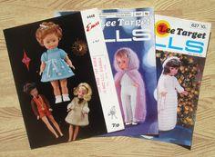 3 x vintage DOLLS CLOTHES knitting patterns 70s/80s by bekabeka75