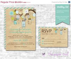 Country Wedding Invitations and RSVP Cards Teal by ThePaperTrailCo