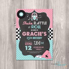 Retro 1950s Diner Themed Invitation v2 Digital File I will