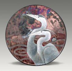 Dave and Boni Deal - Raku Herons Platter.