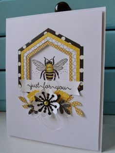 Scrapbook Cards, Scrapbooking, Hexagon Cards, Bee Cards, Origami, Stamping Up Cards, Card Patterns, Butterfly Cards, Card Tutorials