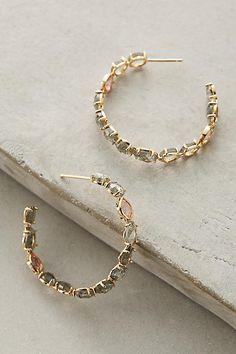 Anthropologie Ailynne Stone Hoop Earrings
