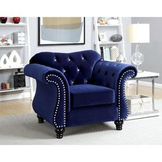 Shop for Furniture of America Tese Traditional Purple Fabric Sofa Set. Get free delivery On EVERYTHING* Overstock - Your Online Furniture Shop! Tufted Accent Chair, Accent Chairs, Blue Armchair, Tufted Armchair, Chesterfield Chair, Single Chair, Chair Fabric, Chair Upholstery, Chair Cushions
