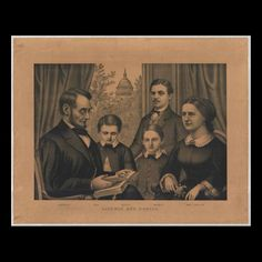 This lithograph is a composite of the family of President Abraham Lincoln gathered together in a parlor setting. Since the Lincoln family never posed together for any artist or photographer, many artists used photographs of the individuals to compose a family scene for printing after Lincoln's death. In this print President Lincoln is seated at the viewer's left holding a large book. The Lincoln's youngest son, Tad, is standing next to his father looking at the large book. Willie, who died…