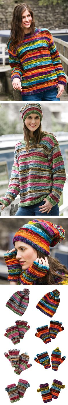 wool hand knitted jumper and matching accessories. Hand made in Nepal, fairly traded by Namaste. Fair Trade, Nepal, Namaste, Hand Knitting, Jumper, Wool, Space, Clothing, How To Make