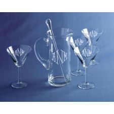Monogrammed Stirred not Shaken Martini  (6 piece set) Did we get that wrong? 007 is so yesterday! Today's martini connoisseur wants to see their initials emblazoned through the attractive crystal martini glass and this 6-piece set provides the solution (yes, the stirrer is included!). Price: $34.95