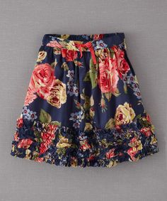 Take a look at this True Navy Cabbage Rose Ruffle-Hem Skirt - Infant, Toddler & Girls on zulily today!