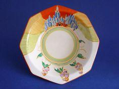 """Tulips Bizarre // Biarritz 7/"""" Plate Art Deco Era 1930/'s  Clarice Cliff"""