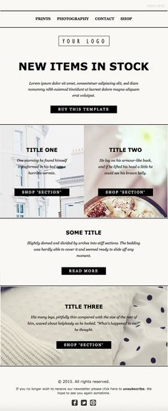 Online Email Newsletter Template Design. Clean HTML code, Mailchimp compatible, fully customizable.