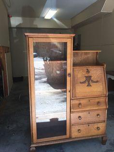 Oak Secretary Desk Bookcase Side By Side...59.5--42--13d Secretary Desks, Old Dressers, Antique Furniture, Thrifting, Bookcases, The Originals, Antiques, Wood, Classic