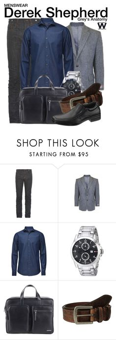 """""""Greys Anatomy"""" by wearwhatyouwatch ❤ liked on Polyvore featuring PRPS, Tommy Hilfiger, Diesel, Torino Leather Co., Hush Puppies, television, wearwhatyouwatch and menswear"""