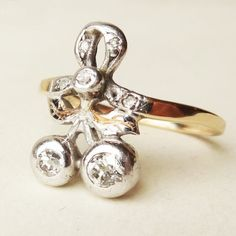 One of a Kind Antique 1800's Diamond Twin Cherries & by luxedeluxe
