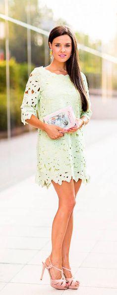 Mint crochet sheath dress - I swear I will fit this one day