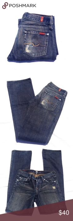 7 FOR ALL MANKIND distressed jeans Perfectly worn in, darker blue, flattering bootcut, soft. Love them. :) inseam appx 32. Thank you for visiting my closet. Please let me know if you have any questions. :) 7 for all Mankind Jeans Boot Cut