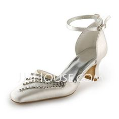 Wedding Shoes - $59.99 - Women's Satin Spool Heel Closed Toe Pumps With Buckle Rhinestone (047011839) http://jjshouse.com/Women-S-Satin-Spool-Heel-Closed-Toe-Pumps-With-Buckle-Rhinestone-047011839-g11839