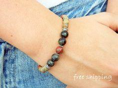 Unakite bracelet,Riolite bracelet,Sesame Jasper bracelet,Stretch bracelet,Gemstone bracelet,Energy bracelet,Yoga bracelet