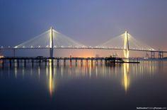 Charleston Charm.    Arthur Ravenel Jr. Bridge.  The Cooper River Bridge Run is an annual event that takes place in the spring.