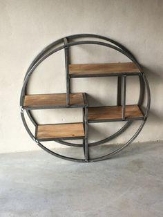 Rond smeedijzeren wandrek wandplank landelijk verspringend wandplank wandconsole schap rek industrieel metaal hout strak eenvoudig wandplank houten legplanken vintage staal stalen frame