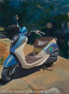 Original Large Painting Thailand Painting Blue Scooter