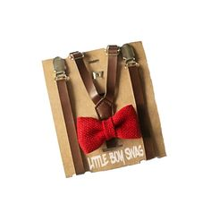 A beautiful rustic look for barn country rustic weddings, this red burlap bow tie and coffee brown skinny leather suspenders is a show stopper. Well, it wont stop the wedding or party but you'll look great sitting there. From newborn to teens #littleboyswag #wedding #ringbearer #rusticwedding #bowtie #suspenders