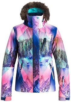 Roxy SNOW Women's Jet Ski Premium Slim Fit Printed Jacket, Mystic Mountains, S