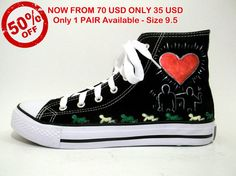SALES  50 OFF  Hand Painted Sneakers  Love by FashionTaboo on Etsy, $35.00 Converse Chuck Taylor High, Converse High, High Top Sneakers, Painted Sneakers, Chuck Taylors High Top, 50th, High Tops, Hand Painted, Pairs