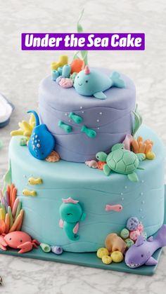 Wilton Cake Decorating, Birthday Cake Decorating, Cookie Decorating, Ocean Cakes, Beach Cakes, Fun Cupcakes, Cupcake Cakes, Wilton Cakes, Cake Decorating Techniques