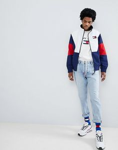 b0d31a8c Tommy Jeans 90s Sailing Capsule track jacket in navy/white/red