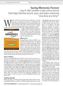 Saving Memories Forever is proud to announce that its iPhone App and website service have been reviewed in the latest issue of Internet Genealogy magazine!