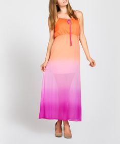 Look at this Coral Ombré Yoke Maxi Dress on #zulily today!