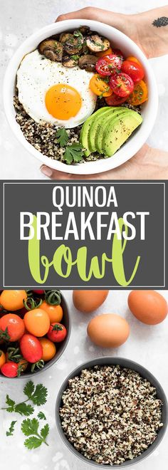 This Healthy Breakfast Bowl with Egg and Quinoa is a great way to combine nutritious ingredients into one simple,filling, and tasty meal.If you have cooked quinoa on hand, it comes together in about 10 minutes. Perfect for busy mornings! #breakfast #bowl #breakfastbowl #healthyeating #healthyrecipes #quinoa #mealprep #egg #brunch via @easyasapplepie