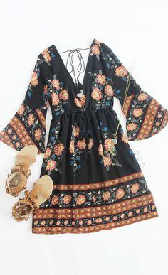 Double V-Neck Bell Sleeve Multicolor Flower Print Dress