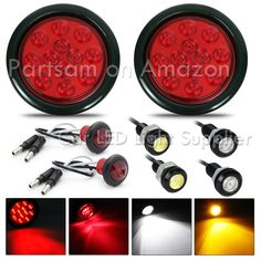 """Partsam 4pcs Red 4"""" Round 12 LED Stop Tail Turn Signal Backup Fog Reverse Marker Light Universal 4pcs Red 4"""" Round 12 LED Tail Stop Turn and brake truck trailer light Universal for Trucks, trailers, tractors, semi-trailer, Dump Truck, bus, boat, special vehicle,etc. For Heavy Duty trucks like Peterbilt, freightliner, international ,Kenworth, mack,etc. Kit components: rubber grommet, come with three pigtails: red http://www.amazon.com/Partsam-Signal-Backup-Reverse-Universal/dp/B014PCKU44"""