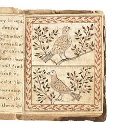 Handwritten chapbook, inscribed Foster, 1798, probably Rhode Island, with approximately fourteen illustrations depicting animals and birds, the leather cover with bird and foliate decoration, 4'' x 3 1/4''.