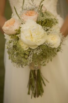 """Love the """"fresh from the garden"""" look of this bouquet. I need to find out where she found the peach peonies!"""