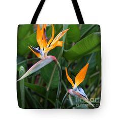 Bird of Paradise Tote Bag by Carol Groenen #floraltotebags #uniquetotebags #tropicaltotebag #birdofparadise