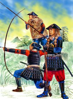 Ashigaru bowman and spearman during the Japanese Warring States Period