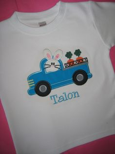 Personalized Boys Easter Shirt (Bunny in Truck). $ 26.00, via Etsy.