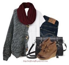 """""""Charcoal oversized cardigan, Infinity scarf & Wedge booties"""" by steffiestaffie ❤ liked on Polyvore featuring Hollister Co., rag & bone, Chicnova Fashion, Mulberry and Sperry"""