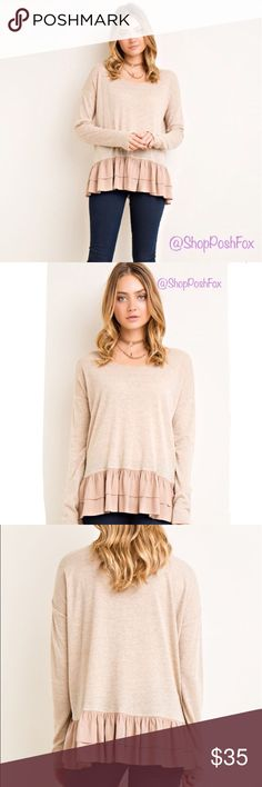 Taupe long sleeve top So comfortable and feminine! Knit. Leightweight. 80% Acrylic 20% Nylon. No trades Tops Tees - Long Sleeve