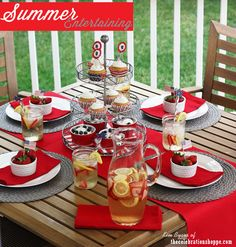 Americana table for your 4th of July, Memorial Day or Labor Day BBQ picnic | entertaining ideas for summer with thecelebrationshoppe.com